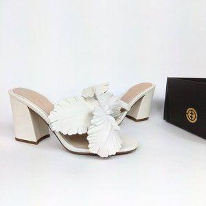 NIB Cecelia New York Hibiscus White Heeled Sandals